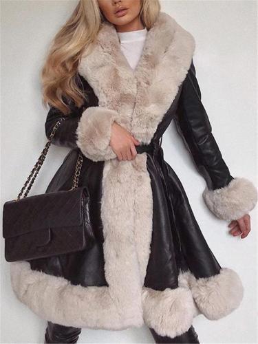 Ultra Warm Waist Tie Faux Fur Long Sleeve Midi Length Coat