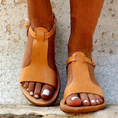 Women's Fashion Simple Open Toe Flat Sandals