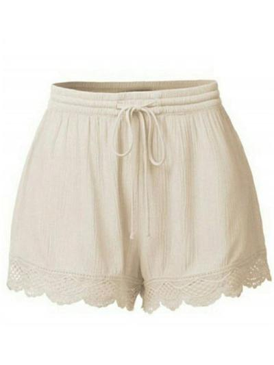 Casual Style Lightweight Drawstring Waistband Floral Hem Hot Shorts