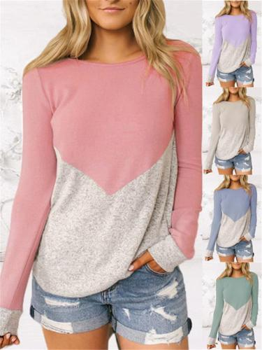 Ultra Comfortable Color Block Round Neck Pullover Shirt