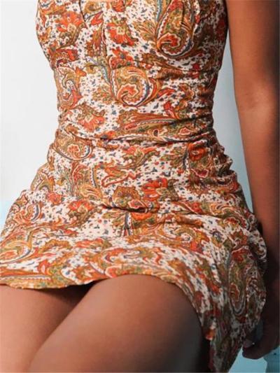 Sexy Pretty V Neck Floral Printed Strappy Bodycon Mini Dress
