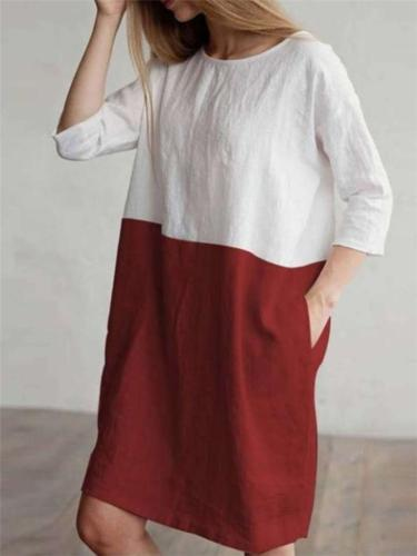 Vintage Style Round Neck Contrasting 3/4 Sleeve Midi Shift Dress