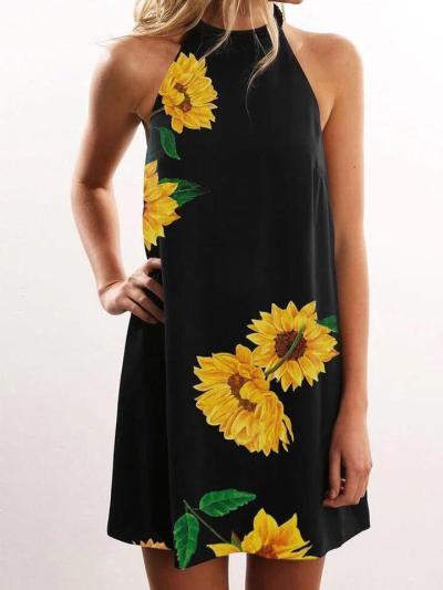 Womens Sleeveless Summer Floral Flared Swing Dress