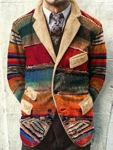 Men's Artsy Multicolor Notched Corduroy Blazer