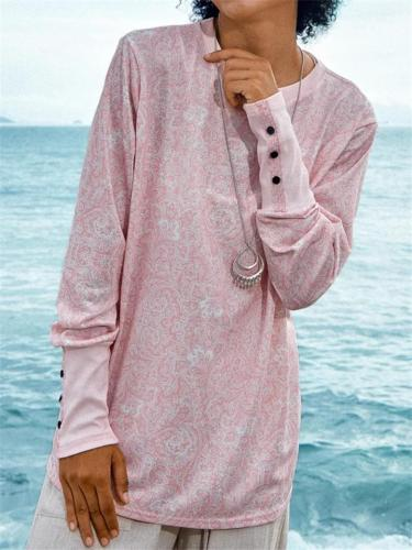 Pink Floral Printing Long Sleeve Button Details Pullover T-Shirt