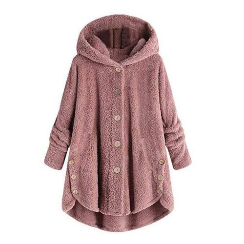 Women's Long Sleeve Cozy Fleece Hooded Button Coat