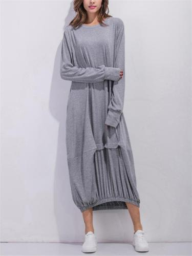 Loose Fit Round Neck Solid Color Long Sleeve Elastic Hem Maxi Dress