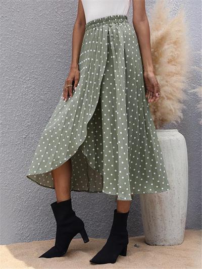 Stylish Elastic Waist Asymmetric Hem Polka Dot Chiffon Pleated Skirt