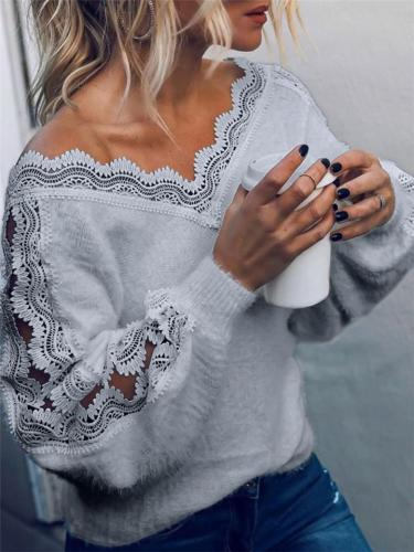 Sexy Casual V Neck Balloon Sleeve Solid Color Pullover Knitted Sweater