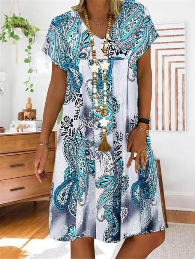 Bohemian Style V Neck Floral Printed Short Sleeve Midi Flare Dress