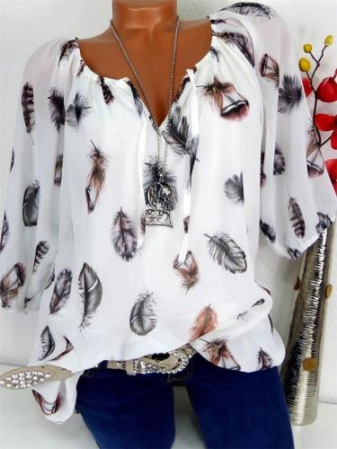 Loose Fit Notched V Neck Front Tie Feather Half Sleeve Chiffon Blouse