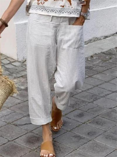 Casual Fit Striped Cotton Linen Pocket Straight-Leg Cropped Pants