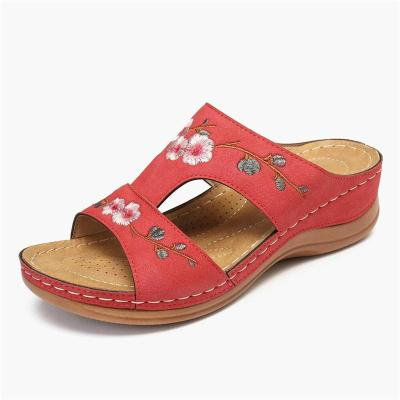 Supportive Comfort Soft Footbed Floral Embroidery Wedge Heel Slippers