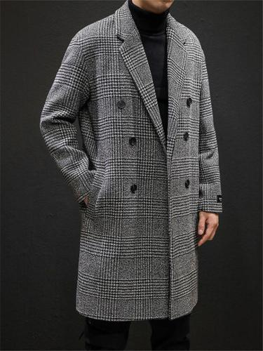 Loose Fit Notched Collar Double Breasted Woolen Plaid Coat