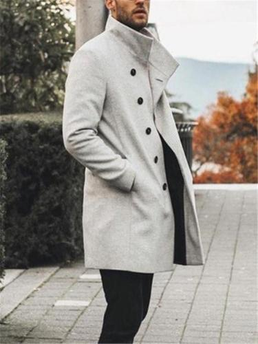 Men's Stylish Stand Collar Button Closure Pocket Trench Coat
