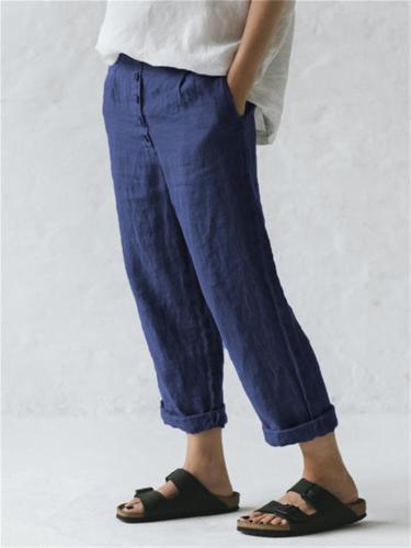 Women's Comfy Summer Casual Cotton Linen Trousers