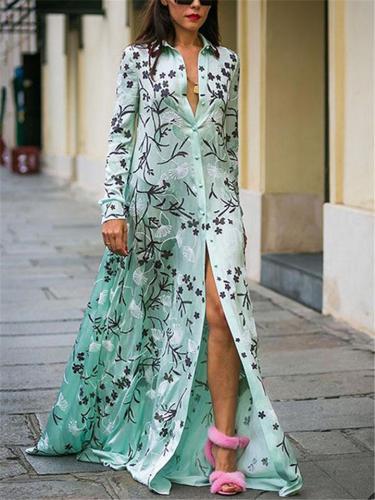 Bohemian Floral Printed Lapel Collar Button Up Maxi Shirt Dress