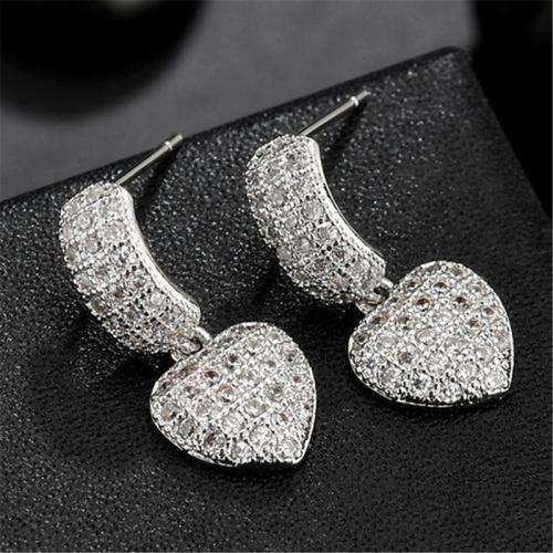 Pretty Sweetheart Zircon Dangled Earrings