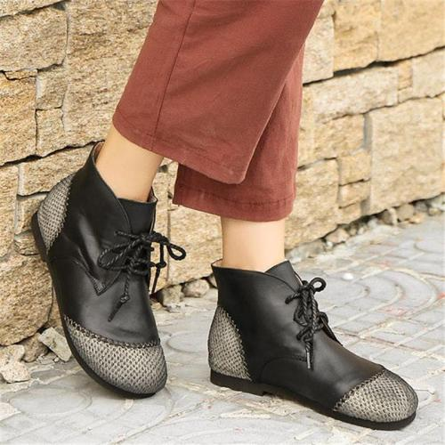 Trendy Non-Slip Wear-Resistance Lace Up Flat Shoes