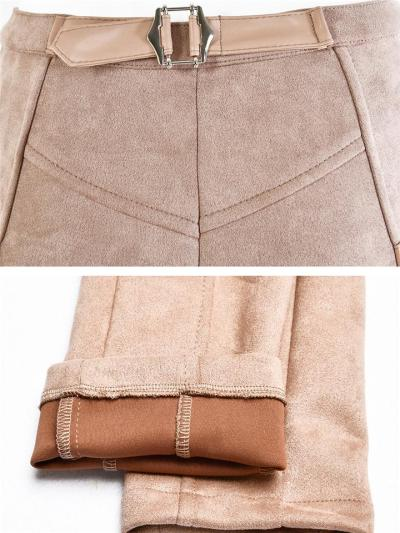 Comfortable Suede Front Zipper Buckle Slim Fit Ankle Pants