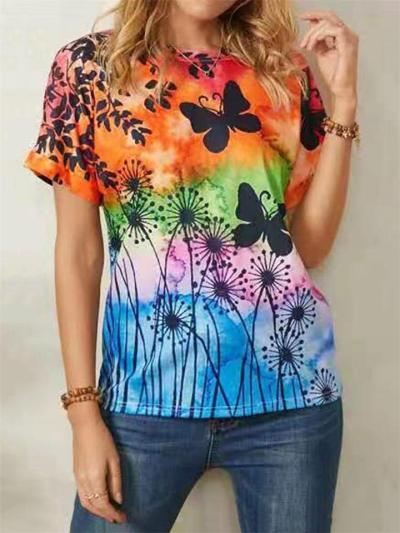 On-Trend Butterfly Floral Printed Crew Neck Rounded Hem T-Shirt