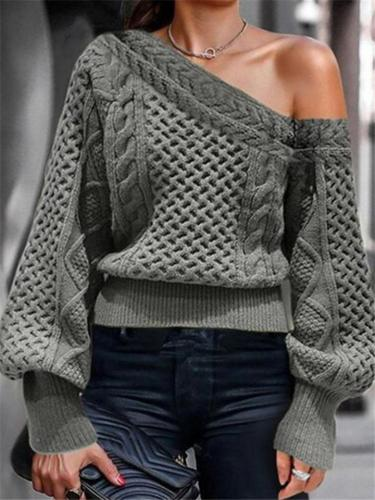 Casual One Shoulder Balloon Sleeve Cable Knitted Pullover Sweater