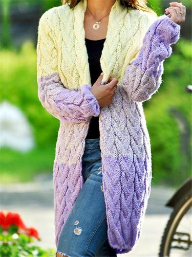 Ultra Cozy Gradient Open Front Cable-Knitted Midi Length Sweater Coat