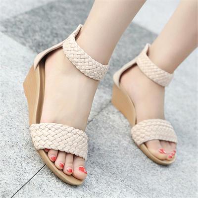 Open Toe Soft Footbed Braided Back Zipper Wedge Heel Sandals