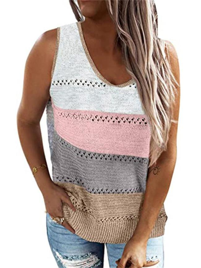 Loose Fit V Neck Cutout Contrasting Knitted Tank Tops