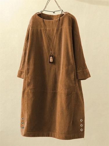 Loose Fit Round Neck Solid Color Corduroy Pullover Dress