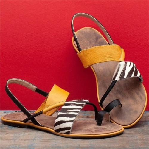 Casual Style Toe-Ring Striped Lightweight Flat Sandals