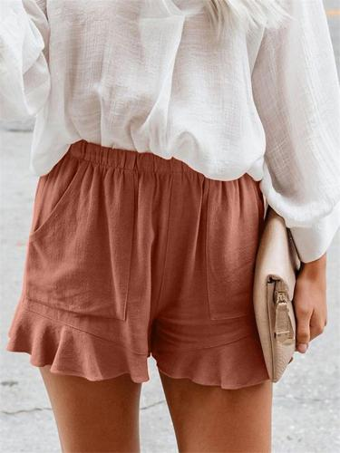 Solid Color Waisted Elastic Casual Shorts For Women