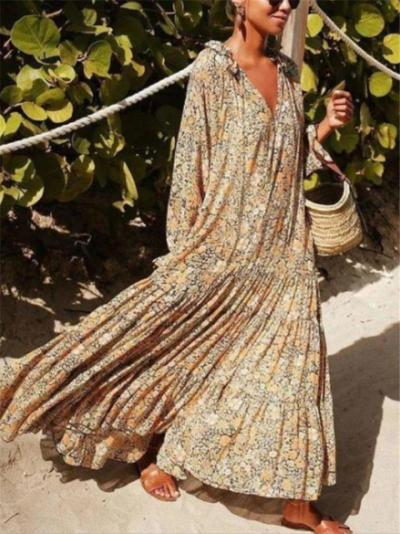 Loose Fit Floral Printed Long Sleeve Pleated Baggy Maxi Dress