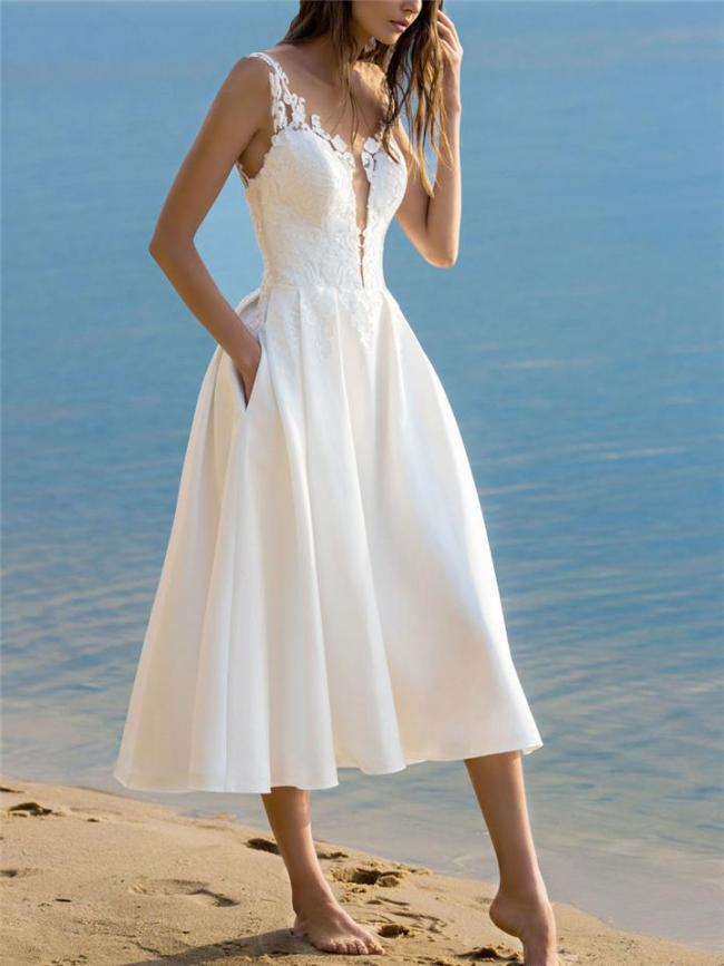 Floral Pattern Straight Hem Knee-Length Pocket Pleated Flared Dress