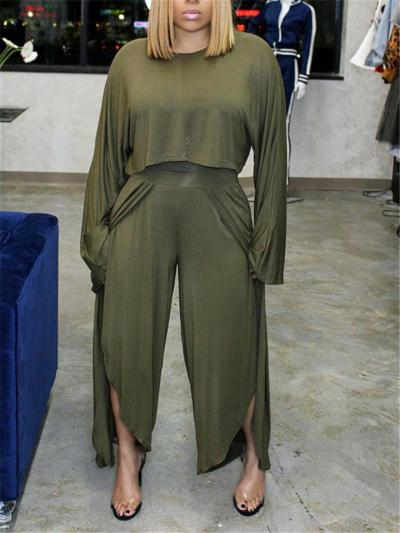 Sexy Fashion One Shoulder Long Sleeve Top + High Slit Wide Leg Pants