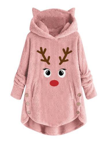Christmas Elk Printed Asymmetric Hem Long Sleeve Fur Hooded Coat