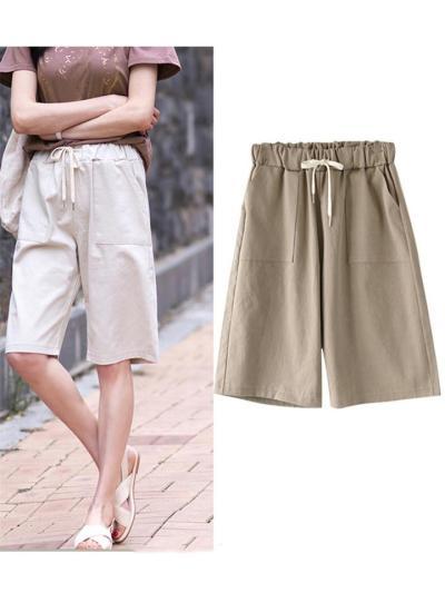 Side Pocket Tie-Waisted Straight Leg Knee-Length Bermuda Shorts