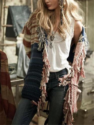 Mid Length Stars Stripes Pattern Knit Cardigan Sweater