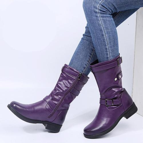Women's Fashion Block Heel Solid-Color Leather Buckle Mid-Calf Boots