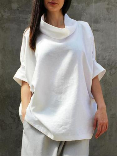 Vintage Style Cowl Neck Half Sleeve Solid Color Pullover Tops