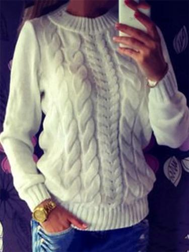 Cozy Warm Round Neck Long Sleeve Ribbed Knit Sweater