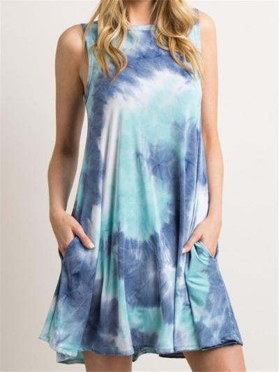 Relaxed Fit Round Neck Sleeveless Tie-Dye Pocket Pullover Dress