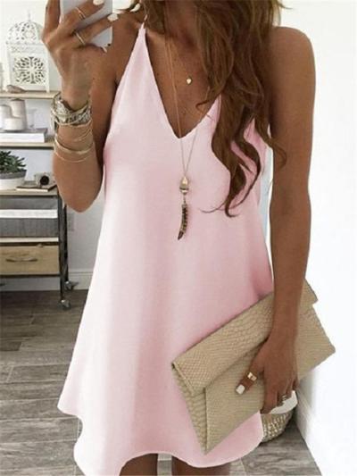 Sexy Pretty V Neck Solid Color Sleeveless Pullover Mini Dress