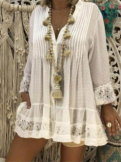 Loose Fit V Neck Long Sleeve Floral Lace Hem Pleated Pullover Tops