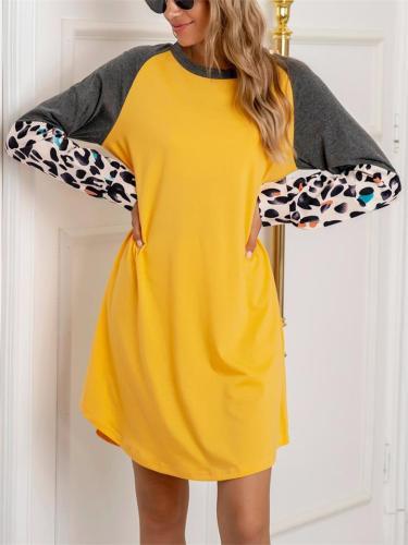 Minimalist Round Neck Loose Splice Leopard Long Sleeve T-shirt Dress