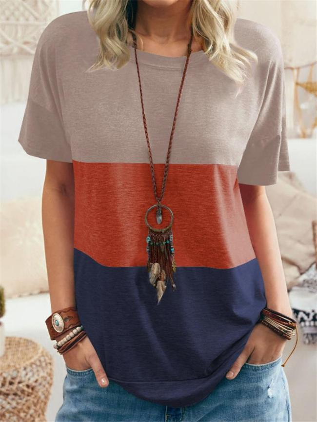 Relaxed Fit Round Neck Short Sleeve Contrasting Pullover T-Shirt