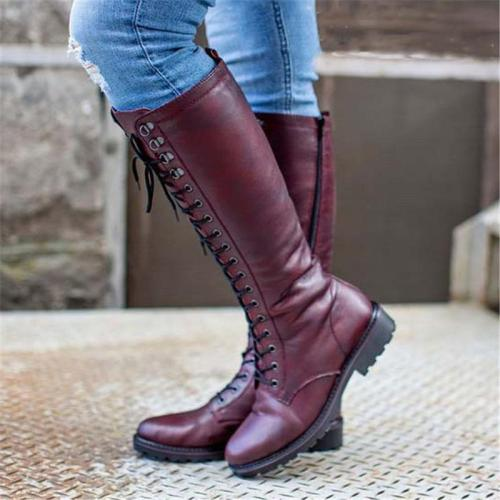 Fashionable High-Cut Lace-Up Side Zipper Chunky Mid Heel Boots
