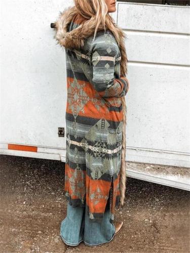 Ultra Cozy Faux Fur Trim Geometric Printed Hooded Long Coat