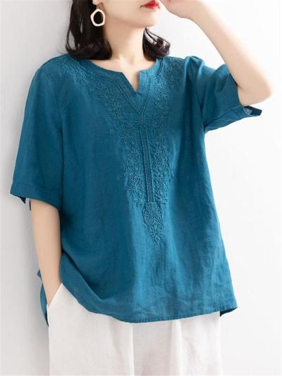 Vintage Style Notched V Neck Half Sleeve Floral Embroidered Cotton Linen Tops