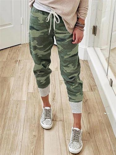 Casual Camouflage Pants with Elastic Drawstring Waistband